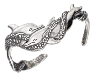 Sterling Silver Antiqued Swimming Double Dolphin Cuff Bracelet