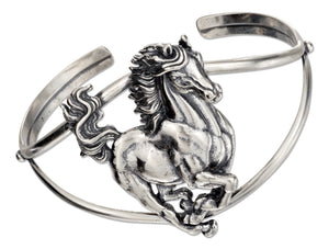 Sterling Silver High Polish and Antiqued Single Horse Cuff Bracelet