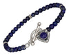 Sterling Silver 7 inch Beaded Lapis with Lapis Heart Toggle Bracelet