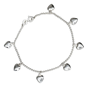 Sterling Silver 7 inch Puffed Heart Charm Bracelet on Bead Chain
