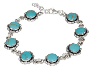 Sterling Silver 7 to 8 inch Adjustable Link Simulated Turquoise Concho Bracelet
