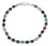 Sterling Silver 7.25 inch Continuous Multiple Color Stone Bead Bracelet