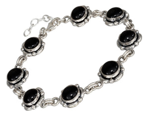 Sterling Silver 7 to 8 inch Continuous Adjustable Link Simulated Onyx Concho Bracelet
