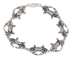 Sterling Silver 7 inch Continuous Linked Crab Bracelet