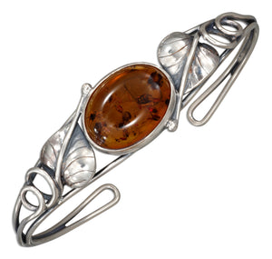 Sterling Silver Open Leaf and Oval Honey Amber Wire Cuff Bracelet