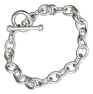 Sterling Silver 7.5 inch Plain Oval Link Toggle Bracelet