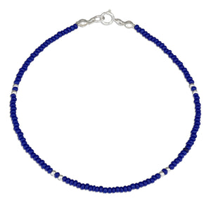 Sterling Silver 9 inch Dark Blue and Silver Beaded Anklet