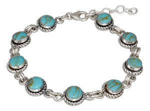 Sterling Silver 7 inch Round Simulated Turquoise Link Bracelet with Roped Border