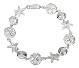 Sterling Silver 7.5 inch Linked Scallop Shell Sand Dollar and Starfish Bracelet