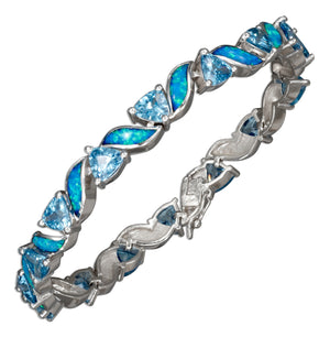 Sterling Silver 7 inch Blue Cubic Zirconia & Synthetic Blue Opal Bracelet