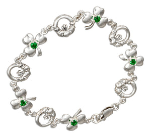 Sterling Silver 7 inch Claddagh and Shamrock Bracelet with Green Glass