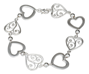 Sterling Silver 8 inch Plain and Filigree Open Hearts Bracelet