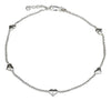 Sterling Silver 10 inch to 11 inch Adjustable Bead Chain and Puffed Heart Anklet