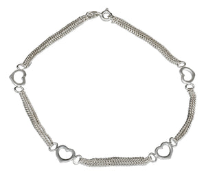 Sterling Silver 10 inch Triple Strand Chain and Open Hearts Anklet