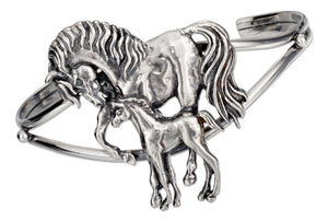 Sterling Silver Mother and Colt Horse Cuff Bracelet