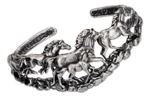 Sterling Silver Four Running Horses Cuff Bracelet