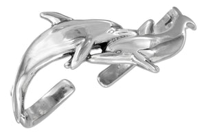 Sterling Silver High Polish Double Dolphin Cuff Bracelet