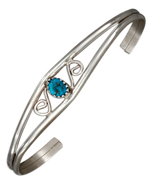 Sterling Silver Scroll Design Wire Cuff Bracelet with Stabilized Turquoise