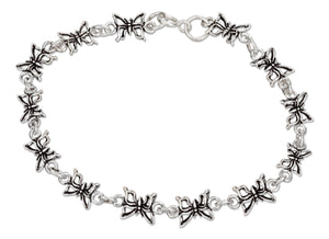 Sterling Silver 7 inch Antiqued Link Mini Butterfly Bracelet