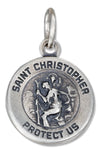 Sterling Silver Antiqued St Christopher Medal Charm