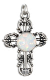 Sterling Silver Fancy Filigree Synthetic Opal Cross Charm