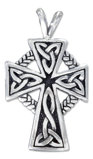 Sterling Silver Celtic Cross Pendant with Trinity Knots and Braid