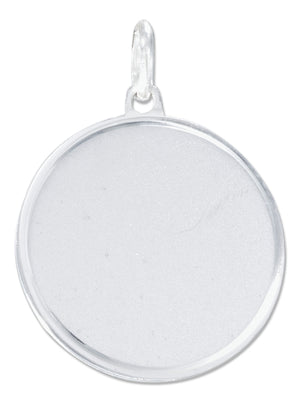 Sterling Silver 24mm Round Engravable Disk Charm with Satin Finish