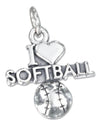 "Sterling Silver Antiqued ""I Heart Softball"" Charm with a Softball"