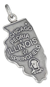Sterling Silver Antiqued Illinois State Charm