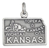 Sterling Silver Antiqued Kansas State Charm