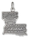 Sterling Silver Antiqued Louisiana State Charm