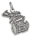 Sterling Silver Antiqued Michigan State Charm