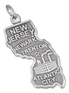 Sterling Silver Antiqued New Jersey State Charm