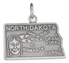 Sterling Silver Antiqued North Dakota State Charm