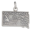 Sterling Silver Antiqued South Dakota State Charm