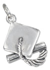 Sterling Silver Mortarboard Graduation Cap Charm with Tassel and Diploma