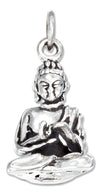 Sterling Silver Antiqued Three Dimensional Young Lotus Buddha Charm