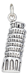 Sterling Silver Antiqued Leaning Tower Of Pisa Charm