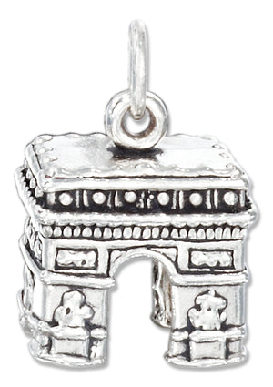 Sterling Silver Antiqued Three Dimensional Arc De Triomphe Charm