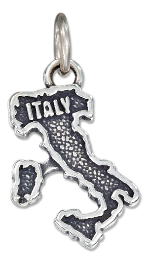 "Sterling Silver Antiqued ""Italy"" Map Charm"
