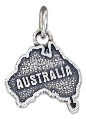 "Sterling Silver Antiqued ""Australia"" Map Charm"