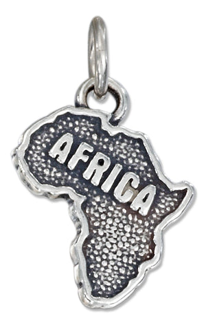 "Sterling Silver Antiqued ""Africa"" Map Charm"