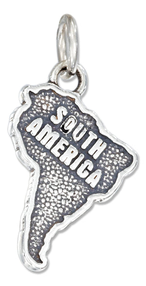 "Sterling Silver Antiqued ""South America"" Map Charm"