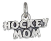 "Sterling Silver Antiqued ""Hockey Mom"" Charm"