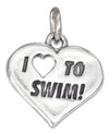 "Sterling Silver Heart with ""I Heart To Swim"" Charm"