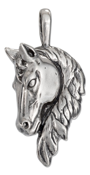 Sterling Silver Large Antiqued Horse Head Pendant with Long Mane