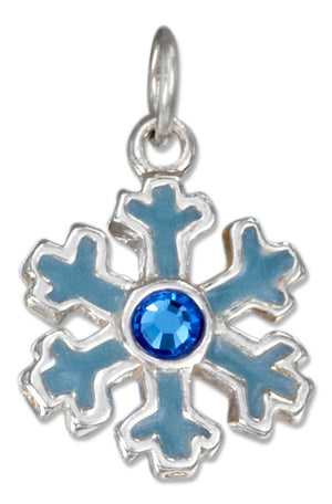 Sterling Silver Enamel Blue Snowflake Charm with Blue Crystal