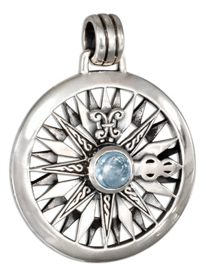 Sterling Silver Blue Topaz Compass Rose Pendant