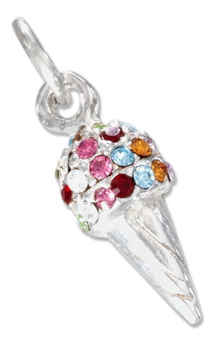 Sterling Silver Ice Cream Cone Charm Pendant with Multicolor Swarovski Crystals