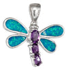 Sterling Silver Purple Cubic Zirconia and Synthetic Blue Opal Dragonfly Pendant